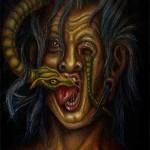 Ein Gedanke geht durch meinen Kopf und beißt mich in die Zunge,damit ich ihn nicht ausspreche (Mischtechnik)