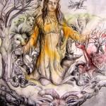 Gebet an Mutter Natur (Tusche , Aquarellfarbe)