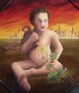 Menschenkind Narziss und Parasit der Du bst (Harzölfarbe auf Holztafel)
