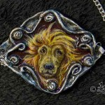 Hundekopf (Polymer Clay Anhänger_bemalt_6x6cm)