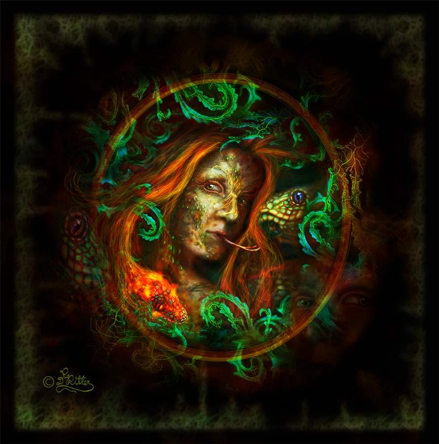 Medusa Hinter den Blättern (Digital Painting)