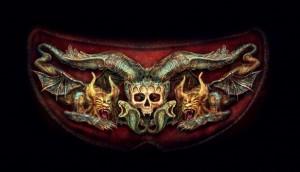 Ornament mit Schädel und Bestien