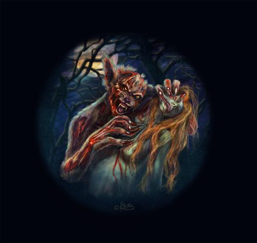 Der Zombie Werwolf und sein Opfer