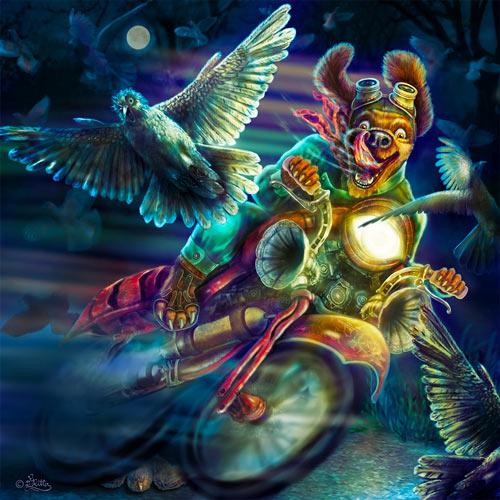 Wilder Hunde-Biker