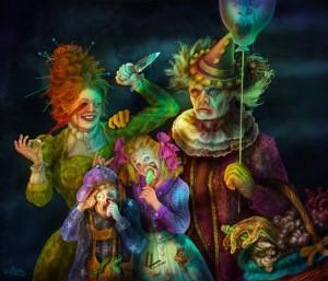 Scary Clowns-Familien Portrait