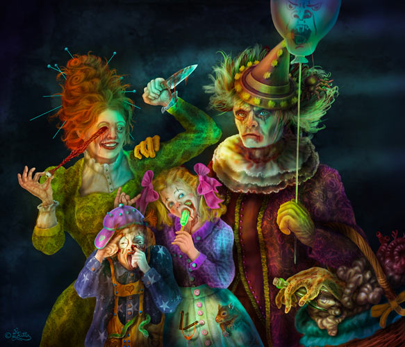 Scary Clowns-Familien Portrait