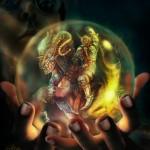 Der apokalyptische Reiter in der magischen Kugel