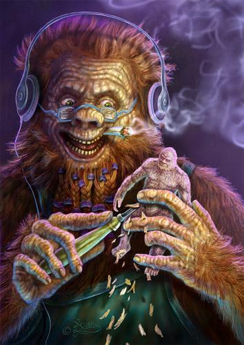 Bigfoot schnitzt ein Selbstportrait